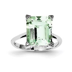 Sterling Silver Polished Rhodium-plated Rhodium Green Amethyst (Purple) Diamond Ring - Ring Size: 6 to 8 Amethyst And Diamond Ring, Purple Diamond, Baby Earrings, Kids Earrings, Green Quartz, Designer Earrings, Statement Rings, Jewelry Gifts, Sterling Silver