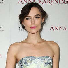 Bridal beauty: Keira Knightly's perfect pink pout and precision eyeliner make for great bridal make-up. www.handbag.com