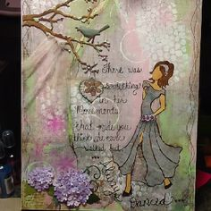 Inspired by Gabrielle Pollacco's blog site. I wanted to try my own version of her beautiful mixed media piece.  I used Prima paper, Tim Holtz die cuts  and a lot of paint and ink!