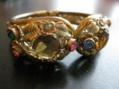 Vintage Art Deco Czech Neiger Flower Filigree bracelet cuff