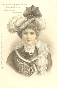 woman in hat trimmed with ostrich feathers & cloth faces & looks front