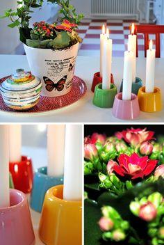 Ljusstakar från Lagerhaus i glada färger. Candles, Candy, Candle Sticks, Candle