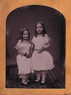 Absolutely beautiful ambrotype by Paul Frecker (of course).    A 1/4 plate ambrotype of two young girls in off-the-shoulder white dresses and pantaloons.