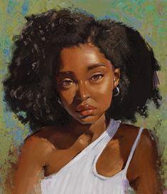 Art of Godstime Ojinmah — Portrait study Black Girl Art, Black Women Art, Art Girl, Black Art Painting, Black Artwork, African American Art, African Art, Arte Black, Black Art Pictures