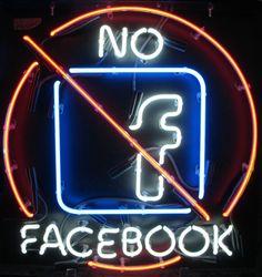 NEON 'NO FACEBOOK' SIGN                                                                                                                     ๑෴MustBaSign෴๑