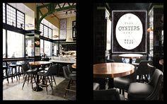 Restaurants — Roman and Williams White Restaurant, Restaurant Design, John Dory Oyster Bar, Roman And Williams, Lafayette Street, Copper Table, Black Tiles, Nyc, Sconce Lighting