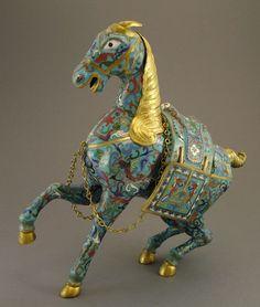 VINTAGE CHINESE CLOISONNE ENAMEL HORSE STATUE