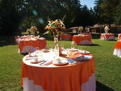 orange outdoor wedding decor