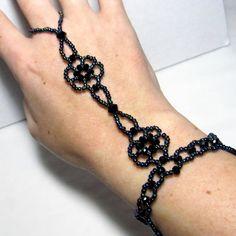 Black Rainbow Woven Floral Slave Bracelet by ElementalKarma, $26.00