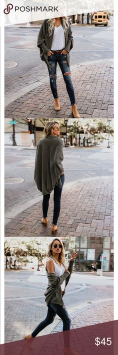 Colbie Dolman Olive Cardigan Super soft! Can wear in the fall and spring time! WILL SHIP NEXT DAY!! I'll ship it with the packaging as if you got it from the company directly! Only worn once & there's nothing wrong with it. No knicks or anything! VICI Sweaters Cardigans