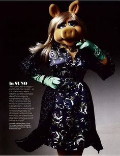 Is it wrong that I really like this dress? Miss Piggy -- you are so cute . . . you can wear anything!