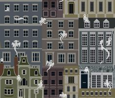 Julie's Ghostly Town fabric by juliesfabrics on Spoonflower - custom fabric