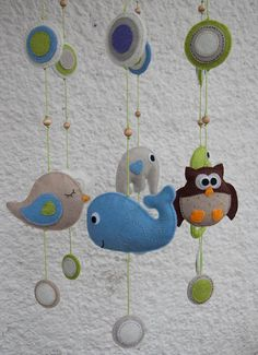 Felt animals baby mobile with circles - made to order