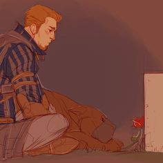 Alistair and the mabari. The feels
