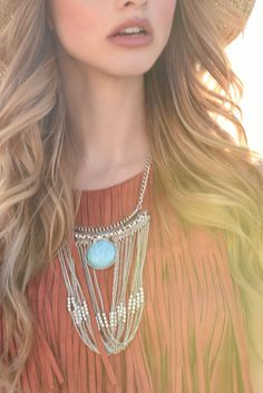 Bali Beat Necklace #accessories #bali #bold #chain #feathers #jewelry #necklace #silver #turquoise #women #womens