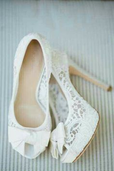 White Lace Heels