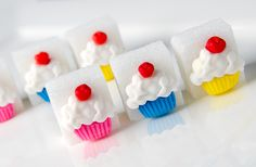 Fondant Hand made cupcakes on little sugar cubes 6 Cake, Wilton Cake Decorating, Afternoon Tea Parties, Sugar Cubes, Wilton Cakes, Sugar Sugar, Party Recipes, Royal Icing, No Bake Desserts