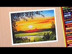 learn Oil pastel drawing for beginners. This is a Scenery drawing of beautiful sunset which is narrated in Hindi. Oil Pastel Drawings Easy, Oil Pastel Paintings, Art Drawings Sketches Simple, Horse Paintings, Oil Pastel Landscape, Abstract Landscape, Drawing Scenery, Soft Pastel Art, Pastel Crayons