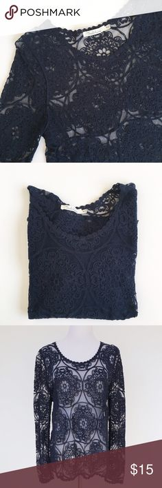 Lace Top. Long sleeved navy lace top                                                     Straight fit, no stains Tops
