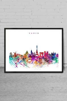 Paris Watercolor Print France watercolor Art Wall by MyVisualArt