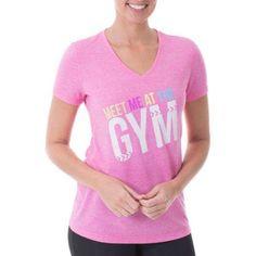 Danskin Now Women's Active Short Sleeve Graphic V-Neck T-Shirt, Size: 2XL, Pink