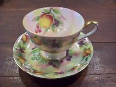 LEFTON Hand Painted Cup and Sauce Signed G Z Lefton E2722 Pedestal Fruit
