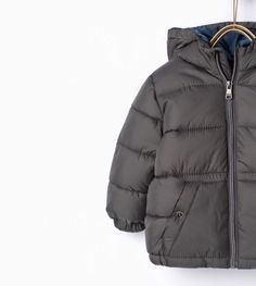 Zara Toddler Boy Quilted Jacket with Hood Dark Gray Size 9 12 Months | eBay