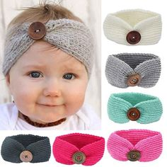 Baby Knitting Infant Girl Button Headbands