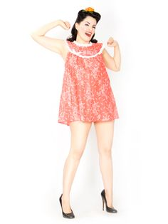 early 1960s inspired Dottie babydoll nightie in coral pink floral print cotton lawn.