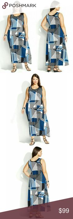 New! Calvin Klein Geometric Plus Size Maxi Dress Indulge your passion for prints with Calvin Klein's striped plus size maxi dress! The elegant print make this a total wardrobe must-have.  Brand New With Tags   Geometric printed allover  Scoop neckline  Jersey fabric - moves with the body  Pullover styling  A-Line maxi silhouette  Hits at ankle  Polyester/Spandex  Machine washable  ?Retails for $139.50 Calvin Klein Dresses Maxi