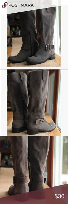 Grey Suede Leather Riding Boots Very cute, slouchy/relaxed grey suede riding/tall moto boots. Some light scuffs, all flaws are pictured. Made in Italy, EUC. No brand Shoes Combat & Moto Boots