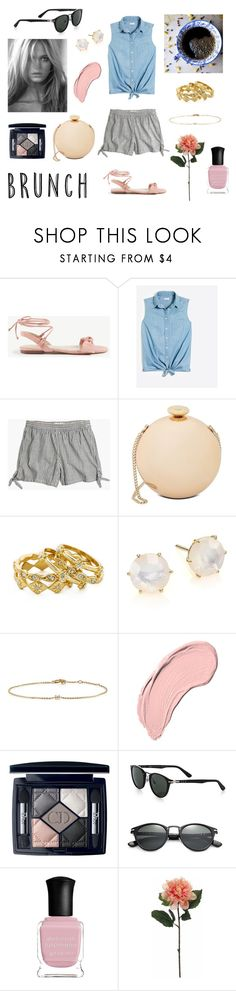 """Striped Shorts"" by tea-and-warm-socks ❤ liked on Polyvore featuring Ann Taylor, Madewell, Love Moschino, Luv Aj, Ippolita, Loren Stewart, NYX, Christian Dior, Persol and Deborah Lippmann"