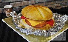 Ham Egg & Cheese Sandwich Sculpted Cake  - Cake by Leo Sciancalepore