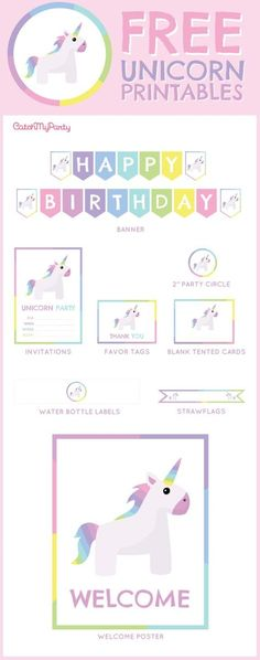 Free Unicorn birthday party Printables for young girls | http://CatchMyParty.com