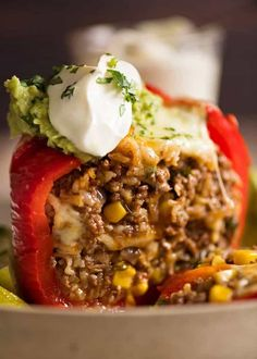 6 stars - Mexican Stuffed Pepper Mexican Stuffed Pepper cut open to reveal Mexican flavoured beef and rice filling. Filling was good jus don't care for stuffed peppers. Rice Recipes, Mexican Food Recipes, Beef Recipes, Healthy Recipes, Pepper Recipes, Beef And Pepper Recipe, Fast Recipes, Chicken Recipes, Heathly Dinner Recipes