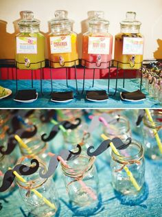 Fiesta engagement party with a margarita bar! + mustache adorned rainbow straws in mason jars