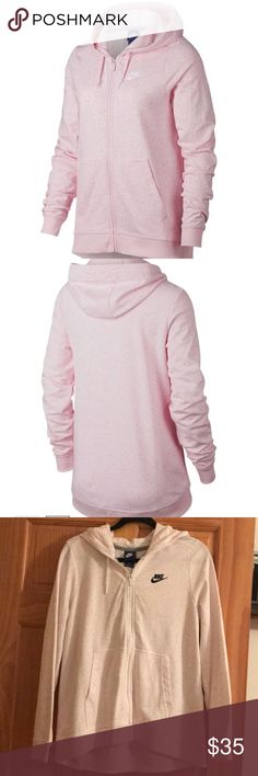 🆕 Nike Hooded Zip Up NWT Nike Hooded Zip Up. Pink speckled/confetti colored. See last picture for more product details. Nike Tops Sweatshirts & Hoodies