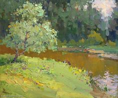 "Korolenkov Viacheslav ""Quiet Backwater"" - oil, canvas http://www.russianfineart.co/catalog/prod.php?productid=18906"