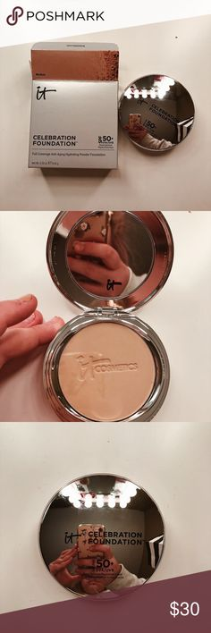 NIB It Cosmetics Powder Foundation in Medium This is a great foundation for anyone who likes quick application and for people who are on the go! It gives you a light to medium coverage applied on its own but if you apply to on top of your liquid foundation it gives you a full coverage look! I'm selling because I have multiple! I love this powder and would high recommend! It Cosmetics Makeup Foundation