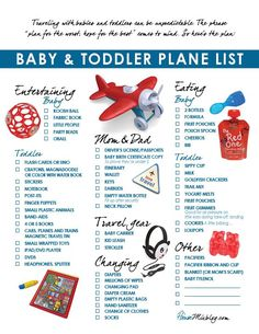 Free printable plane pack list and travel ideas for toddlers and babies