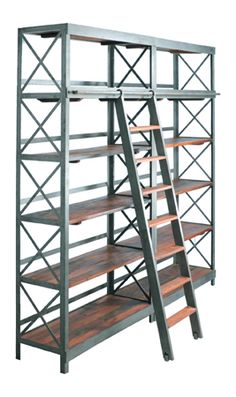 Iron and Wood Book Shelf with Ladder @ STL