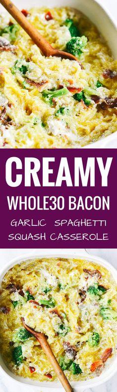 Easy whole30 creamy bacon garlic spaghetti squash bake.