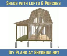 Build your own awesome shed with a nice big shed porch and huge shed loft. The diy shed plans I have are easy to use and come in full color with detailed shed blueprints, materials list, and email support.  Pdf format plans are an instant download as soon as you pay and you can start building your awesome shed right away.  Visit shedking.net today. Shed With Loft, Shed With Porch, Shed To Tiny House, Big Sheds, Small Sheds, Barns Sheds, Small Barn Plans, Small House Floor Plans, Shed Building Plans