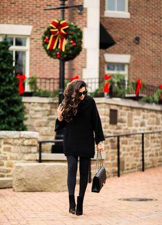 DECEMBER 19, 2016 Chic All Black For Christmas Time - SWEATER: Sun & Shadow   LEGGINGS: Zella   BOOTIES: old   HANDBAG: Chanel   SUNGLASSES: BP   BRACELETS: David Yurman   RING: David Yurman   WATCH: Michele