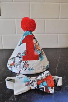 Cat in the hat Dr Suess party hat and bow by GracieFrancesDesign, $22.00