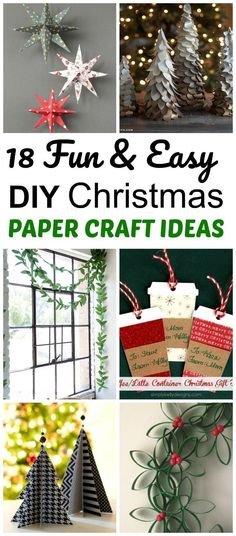 18 Christmas and winter DIY paper craft projects that are easy projects, make cute holiday decorations, are inexpensive and fun! #Papercraft #diychristmas #crafts #ChristmasDecor #christmas #decorating