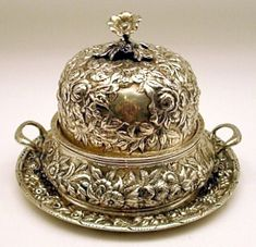 Repousse Sterling Silver two-handled Butter Dish, S. Kirk & Son, c. 1870.