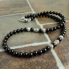 Mens Black Onyx Necklace, Handmade Beaded Gemstone Onyx Jewelry for Men, Guys, Dad, Him