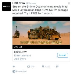 HBO Twitter Ad Example Oscar Wins, Try It Free, Ads, Twitter