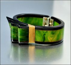 Art Deco Bracelet Bakelite Ribbon Hinge Bangle Carved by boylerpf. @Deidré Wallace
